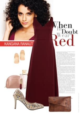 Kangana Ranaut Red Carpet Style Solids Red Dresses, Gold Pumps with Solids Brown Clutches Combo