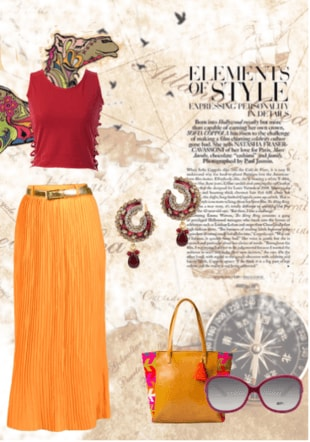 Elements Of Style Solids Red Tops, Orange Skirts with Brown Handbags Combo
