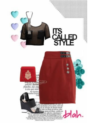 Red Skirts, Red Handbags with Black Tops Combo