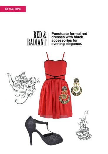 Red Radiant Buy Solids Red Dresses Black Earrings With Black