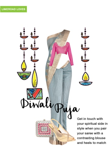 Diwali Puja - Buy Grey Sarees, Silver Clutches with