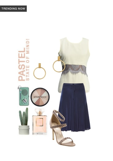 Pastel State Of Mind! - Buy Blue Skirts, Solids White Tops