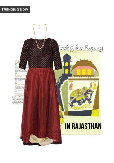 78344c18b35d #1 'Red and black chanderi silk skirt and top set' & similar products.
