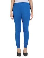 Blue Cotton Lycra Legging - By