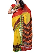 Stripes Color Block Georgette Saree - Ambaji