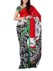 Red And Black Georgette Saree - Ambaji