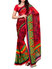 Printed Color Block Georgette Saree - Ambaji