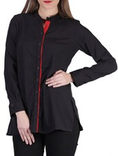 Plain Black Mandarin Collar Shirt With Contrasting Red Button Placket - SIERRA