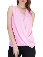 Plain Pink Sleeveless Georgette Top - SIERRA