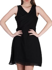 Plain Black Pleated A Line Georgette Dress - SIERRA