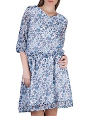 Floral Print V-Neck Chiffon Dress - SIERRA