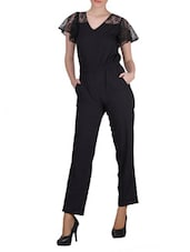 Black Floral Lace Ruffled Sleeve Crepe Jumpsuit - SIERRA