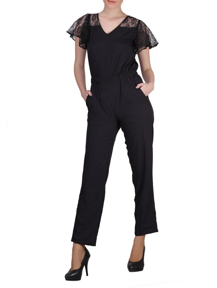 Black Floral Lace Ruffled Sleeve Crepe Jumpsuit - SIERRA
