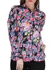 Floral Print Long Sleeve Crepe Shirt - SIERRA