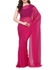 Magenta Chiffon Woven Booti Work Saree With Blouse - AKSARA