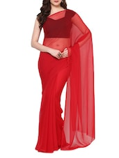 Red Plain Chiffon Saree - AKSARA