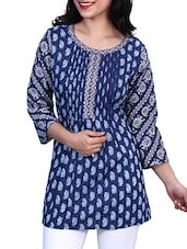 Blue- White Colored Printed Cotton Kurti With Pin Tucks - By