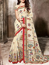 Beige Art Silk Printed Saree With Blouse - By