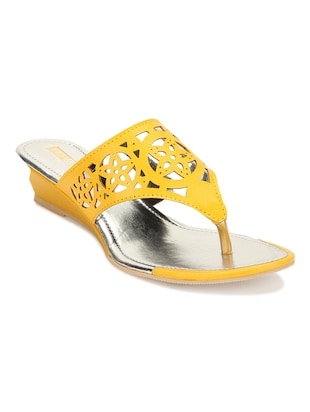 Yellow Leatherette Wedges