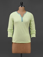 Lime Yellow Cotton Knit Full Sleeve T-shirt - Texco