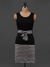 Black And White Striped Sleeveless Bodycon Dress - Texco