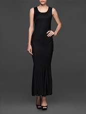Sleeveless Round Neck Solid Black Long Dress - Texco