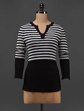 Black And White Striped Cotton Knit T-shirt - Texco