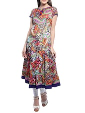 Multi Colour Printed Cotton Flared Kurta - By