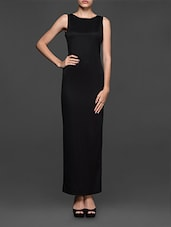 Round Neck Sleeveless Solid Black Long Dress - Texco