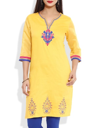 yellow Polyester straight kurta