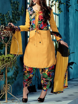 Yellow Printed Bhagalpuri Silk Semi Stitched patiyala Suit Set