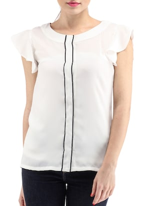 white poly georgette regular top