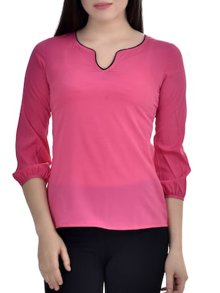 Pink Poly Crepe Top.