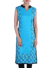 Turquoise Rayon Regular Kurta - By