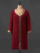 Red Sequined Quarter Sleeves Georgette Kurta - Rumara