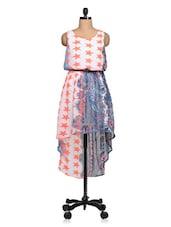 Multicolored Star Printed Georgette Asymmetric Dress - Queens