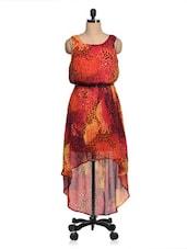Multicolored Animal Printed Chiffon Asymmetric Dress - Queens