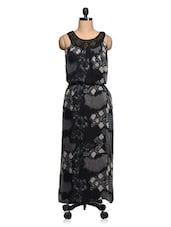 Black & Grey Printed With Embellished Neckline Maxi Dress - Queens