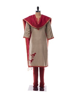 Grey And Red Suit With Bird Print - KILOL