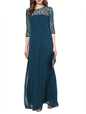 Turquoise Three-quarter Sleeves Lace Maxi Dress - La Zoire