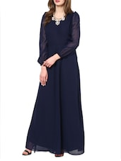 Blue Bell sleeves maxi dress -  online shopping for Dresses