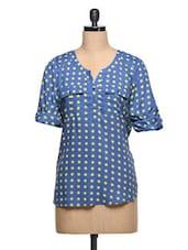 Blue Polka Dots Printed Tunic - AVIDDIVA