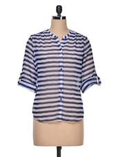 Navy Blue Stripes Shirt - AVIDDIVA