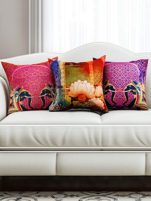 Multi color set of 3 cushion covers