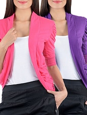 Pink & Purple  Gathering Sleeve Shrugs (Combo) - By