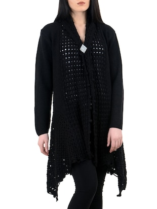 Long Black Woollen Shrug with Elegant Broach