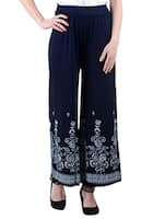 Navy Blue Viscose Flower Palazzo -  online shopping for Palazzos