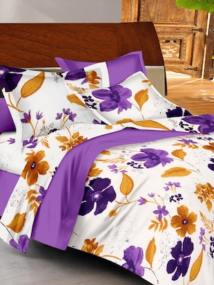 purple-brown- white colored, cotton double bedsheet with 2 pillow covers