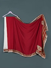 Red And White Silk Saree - Purple Oyster