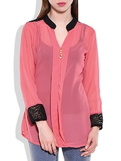 Pink, Black Polygeorgette, Lace Fabric Top - By